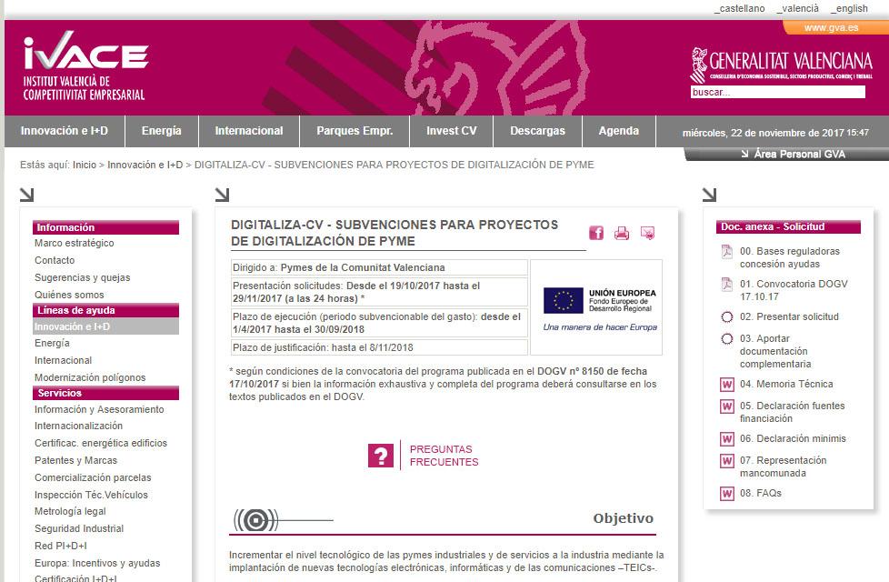 ayudas subvenciones digitalizacion ivace