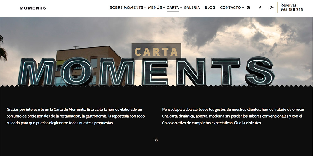 diseno web moments bar restaurante 01 1000x500 - Diseño páginas web Alicante: Moments Bar