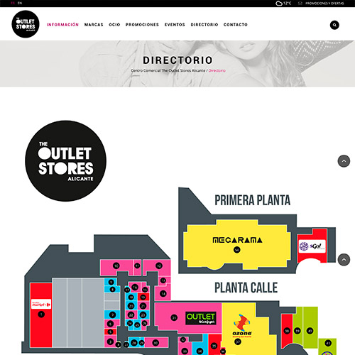 diseno web oulet store centro comercial tiendas 03 500 - Diseño web Alicante: Centro Comercial The Outlet Stores
