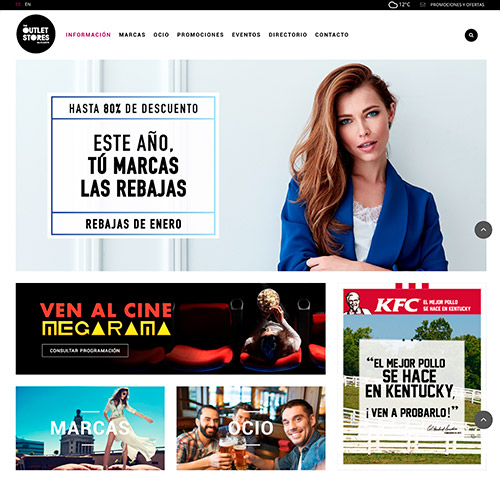 diseno web oulet store centro comercial tiendas 04 500 - Diseño web Alicante: Centro Comercial The Outlet Stores