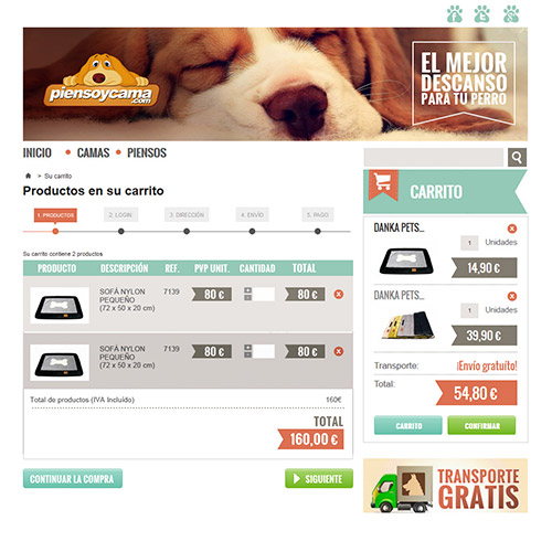 diseno web piensoycama tienda productos mascotas 04 500 - Diseño de tiendas online con Prestashop: Pienso y cama