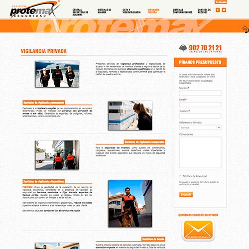 diseno web protemax seguridad 04 500 - Diseño de páginas web Alicante: Protemax Seguridad