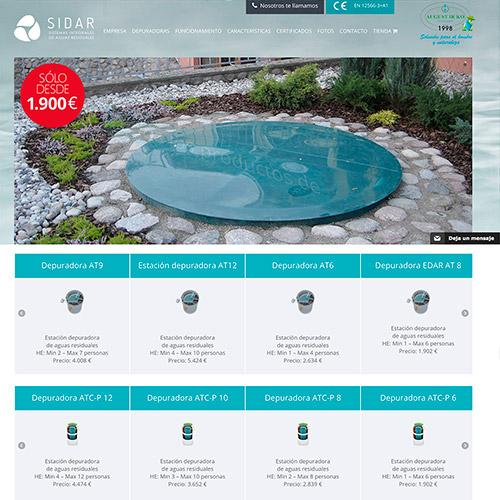 diseno web sidar servicio depuradoras 03 500 - Diseño de páginas web en Alicante: SIDAR
