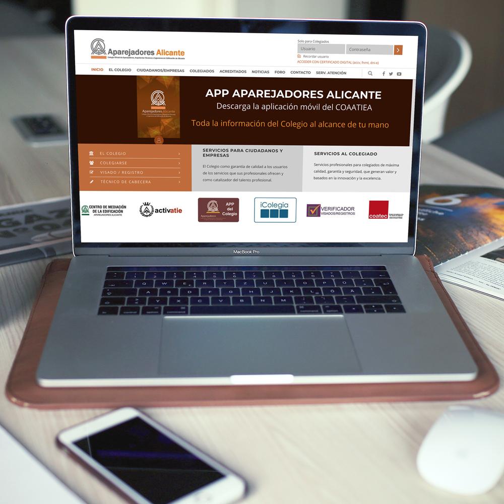 portfolio aparejadores 0 - Diseño web: Colegio Aparejadores Alicante